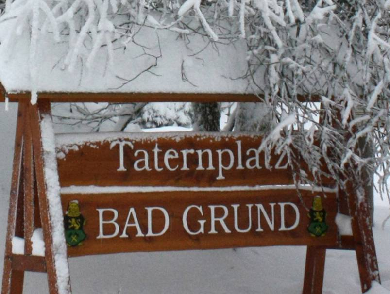 Schild am Taternplatz in Bad Grund
